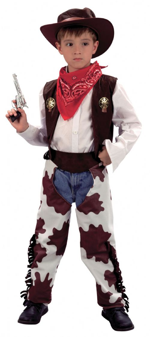 Boys Cowboy Cowprint Chaps Costume Wild West & Indians Fancy Dress Outfit